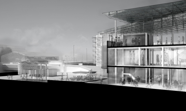 2nd Year, Bristol : Atelier Sectional Perspective of communal spaces