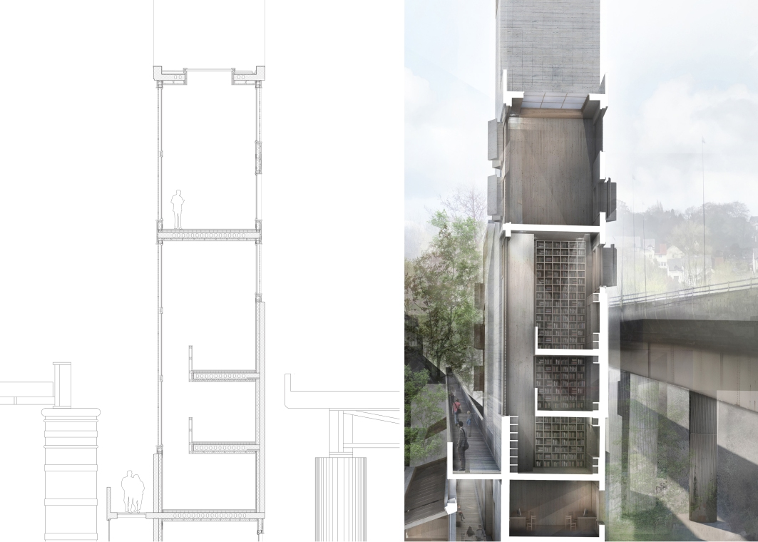 Detailed Section and Sectional Perspective through tower